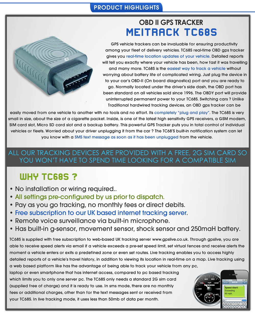 Details about Meitrack TC68 OBD II GPS Tracker For Car Van Fleet Tracking  System Device -068S