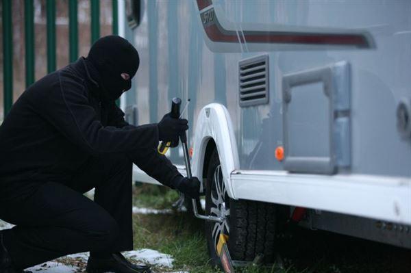Caravan Thief Trying to Break into a Motorhome