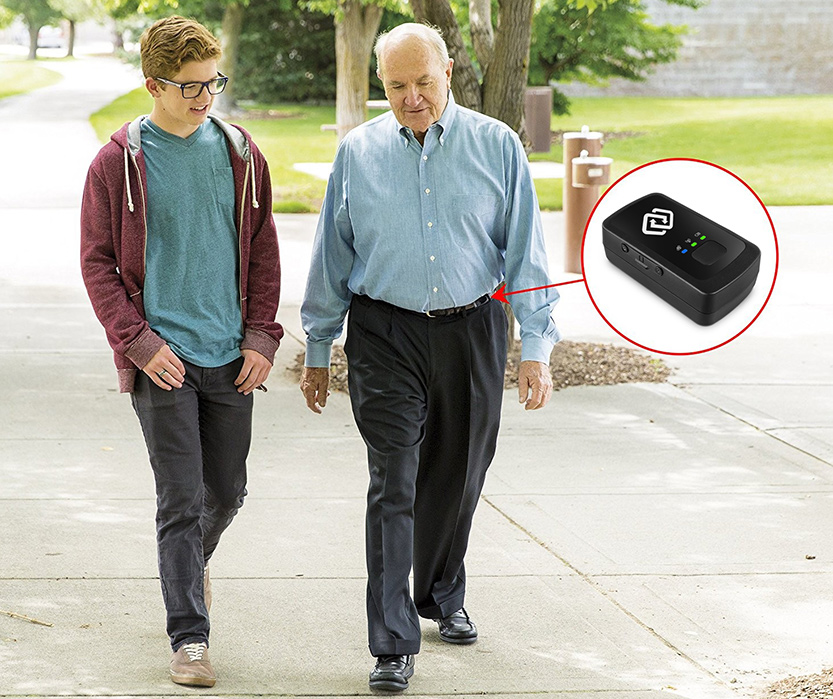 Elderly Person Carrying a Personal Tracking Device