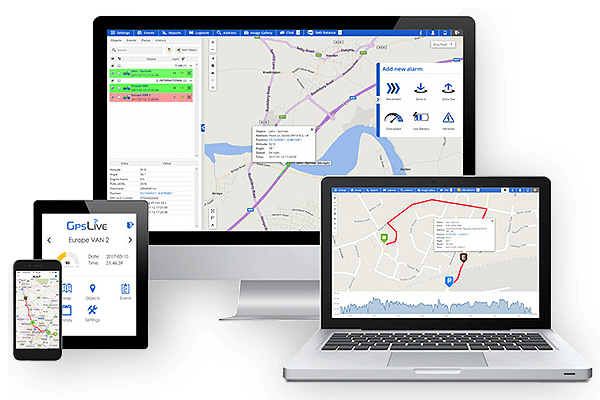 GPSLive Tracking Platform on Various Devices